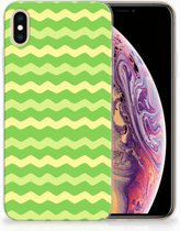 iPhone Xs Max  TPU-siliconen Hoesje Design Waves Green