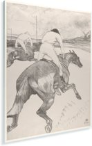 Le Jockey - Schilderij van Henri de Toulouse-Lautrec Plexiglas 60x80 cm - Foto print op Glas (Plexiglas wanddecoratie)