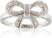Lovenotes Zilveren Ring - Maat 56 - Gerhodineerde Strik Met Zirkonia
