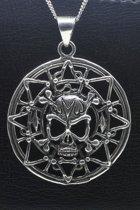 Zilveren Doodskop in cirkel XL ketting hanger