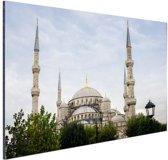 Blauwe moskee Turkije Aluminium 90x60 cm - Foto print op Aluminium (metaal wanddecoratie)