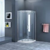 Douchecabine Rondo Nano Kwartrond Schuifdeur 100x100x200cm Antikalk Helder Glas Chroom Profiel 8mm Veiligheidsglas Easy Clean