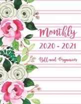 Monthly Bill and Organizer 2020-2021: 2 year Daily Weekly & Monthly Calendar Expense Tracker Organizer For Budget Planner And Financial Planner Workbo