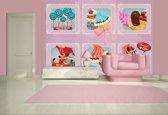 Fotobehang Papier Snoepjes | Roze, Blauw | 254x184cm