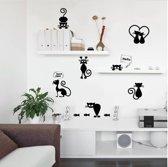 Muurstickers met Katten - Lichtschakelaar Sticker - 9 verschillende Katten