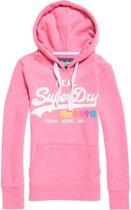 Superdry Vintage Logo Pop Entry Hood  Sporttrui casual - Maat S  - Vrouwen - roze/wit