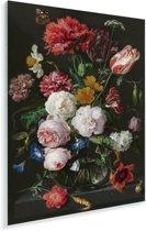 Stilleven met bloemen in een glazen vaas - Schilderij van Jan Davidsz de Heem Plexiglas 80x120 cm - Foto print op Glas (Plexiglas wanddecoratie)