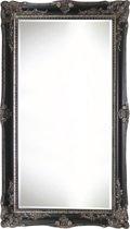 Spiegel - Yana- zwart / antiek zilver - buitenmaten breed 61 cm x hoog 181 cm.
