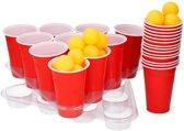 Grote beer pong set met rode cups 50 delig