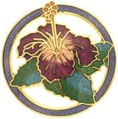 Behave® Broche rond met bloem paars emaille