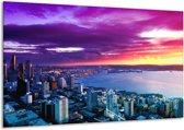 Canvas schilderij Uitzicht | Paars, Geel, Blauw | 120x70cm 1Luik