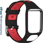 Zwart Rood bandje voor Tomtom Adventurer, Tomtom Spark, Tomtom Spark 3, Tomtom Runner 2, Runner 3 - Golfer 2 - horlogeband - polsband - strap - zwartrood