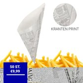 Papieren Frietzak | Krant print | 50 st. | Patatzak | Frietzakken | Puntzakken | Frietzakjes