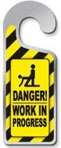 Danger Work in Progress Deurhanger Metaal