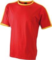 Rood met geel heren t-shirt M