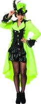 Dans & Entertainment Kostuum | Funky Luxe Jas Neon Geel Vrouw | Maat 46 | Carnaval kostuum | Verkleedkleding