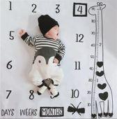 Milestone deken giraffe incl. frames en pijl - Mijlpaaldeken - fotoherinnering - kraamcadeau - babyshower cadeau - foto mijlpaal deken - kraamkado - fotodoek