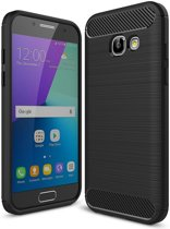 Samsung Galaxy A3 (2017) Geborsteld TPU Hoesje Zwart