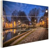 Canal St Martin Parijs Hout 80x60 cm - Foto print op Hout (Wanddecoratie)