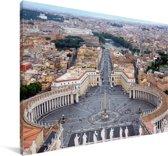 Sint-Pietersbasiliek in Italië met uitzicht over het Sint-Pietersplein Canvas 30x20 cm - klein - Foto print op Canvas schilderij (Wanddecoratie woonkamer / slaapkamer)