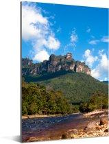 Meer voor het berglandschap van het Nationaal park Canaima in Venezuela Aluminium 60x90 cm - Foto print op Aluminium (metaal wanddecoratie)