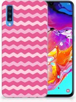 Samsung Galaxy A70 TPU-siliconen Hoesje Waves Pink