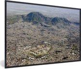 Foto in lijst - Uitzicht vanuit de lucht over Mexico-stad fotolijst zwart 60x40 cm - Poster in lijst (Wanddecoratie woonkamer / slaapkamer)
