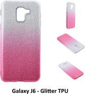 Kleurovergang Roze Glitter TPU Achterkant voor Samsung Galaxy J6 -Zacht en duurzaam - TPU