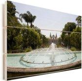 Fontein voor het Monte Carlo Casino in Monaco Vurenhout met planken 90x60 cm - Foto print op Hout (Wanddecoratie)
