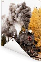 Stoomlocomotief met mooie rook pluimen Tuinposter 120x180 cm - Tuindoek / Buitencanvas / Schilderijen voor buiten (tuin decoratie) XXL / Groot formaat!