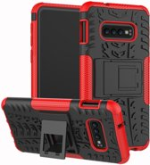 Samsung Galaxy S10e Hoesje - Hybride Back Cover met standaard - Rood