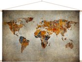 Artistieke wereldkaart op schoolplaat 60x40 cm platte latten - Textielposter