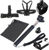 YKD-112 7 in 1 borstband + polsriem + hoofdriem + selfie Monopod + statiefbevestiging + draagtasenset voor GoPro HERO4 / 3 + / 3/2/1 / SJ4000