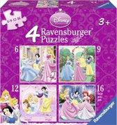 Ravensburger Disney Princess. Vier puzzels -6+9+12+16 stukjes - kinderpuzzel