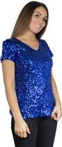 Pailletten topje, shirt blauw