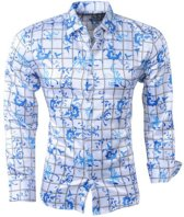 Pradz - Heren Overhemd - Bloemen - Geblokt - Wit