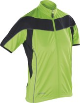 Women's Spiro bikewear full zip top, Kleur Black/Fluor Lime, Maat XL