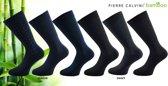 Pierre Calvini - bamboe basic sokken - 12 paar -Multipack Zwart en Blauw Maat 39-45