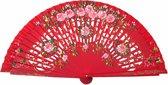 Spaanse waaier - Flamenco - luxe - rood hout met rozen - bij jurk