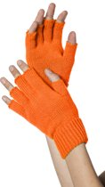 Handschoenen vingerloos gebreid uni neon-oranje