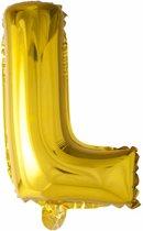 Folie Ballon Letter L Goud 41cm met rietje