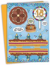 XXL 3D taart kaart 18 jaar - verjaardagskaart