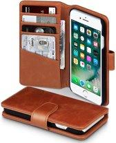 Hoesje geschikt voor Apple iPhone 7 en iPhone 8, echt lederen 3-in-1 bookcase, cognac bruin