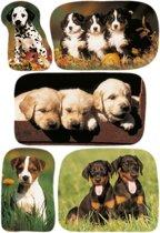 45x Honden/puppy dieren stickers - kinderstickers - stickervellen - knutselspullen
