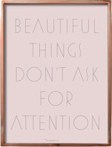 Bloomingville - Tekstbord - 'Beautiful Things ...', - W30xH40 cm - Koper