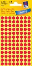 50x Avery Ronde etiketten diameter 8mm, rood, 416 stuks