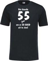 Mijncadeautje - Leeftijd T-shirt - Het duurde 55 jaar - Unisex - Zwart (maat M)