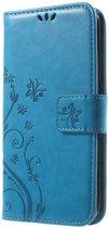 Book Case Hoesje Bloemen Samsung Galaxy S6 Edge - Blauw