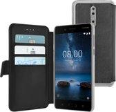 Azuri walletcase met magnetische sluiting - zwart - voor Nokia 8