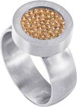 Quiges RVS Schroefsysteem Ring Zilverkleurig Mat 16mm met Verwisselbare Zirkonia Goudkleurig 12mm Mini Munt